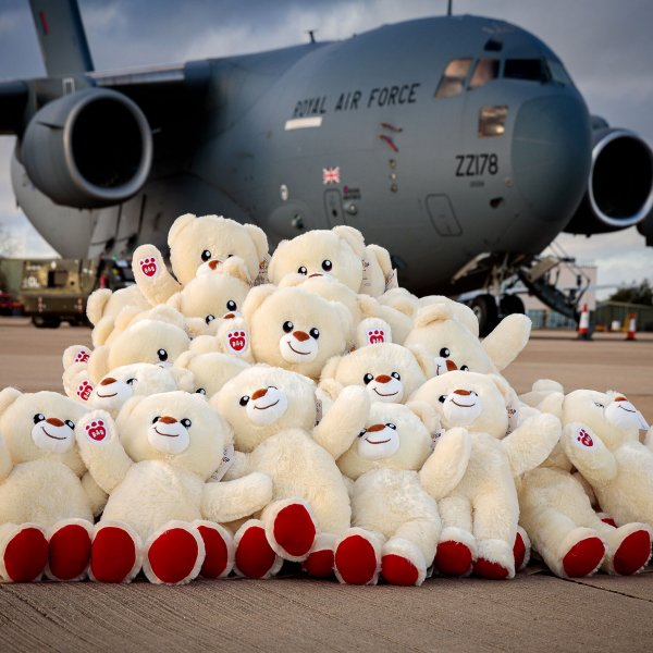 build a bear bears & RAF C17 aircraft at RAF Brize Norton