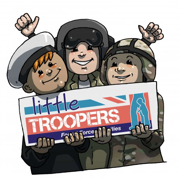 Troopers holding logo